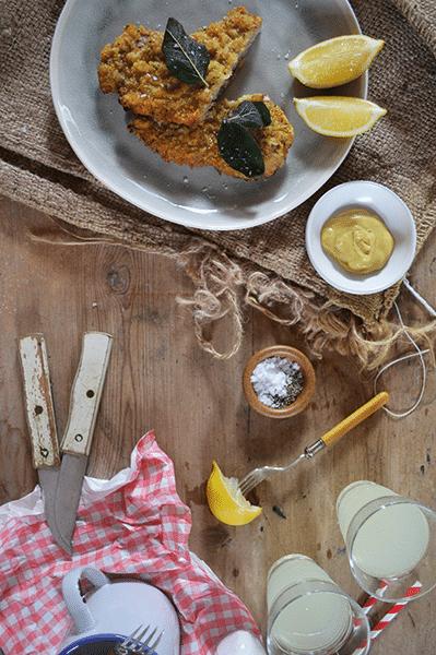 Rose veal schnitzel