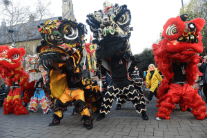 Traditional Chinese Lion dancers
