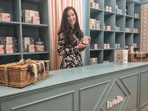 Lavinia Davolio in her Parsons Green Lavolio Boutique Confectionery shop