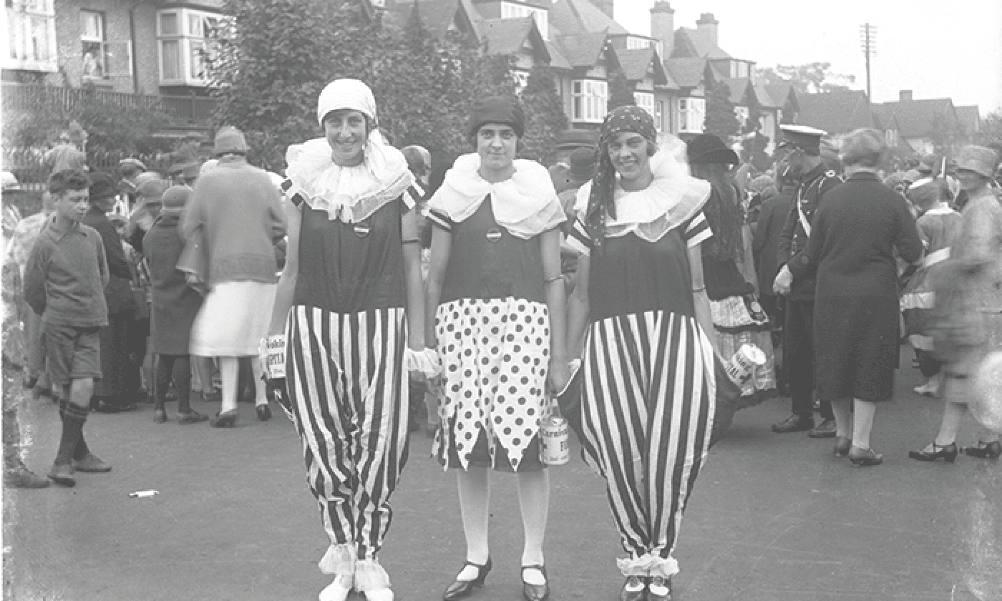 Sidney Francis (1891-1973) Three Young ladies in Fancy Dress for Woking's 1923 Carnival, reproduced by permission of Surrey History Centre