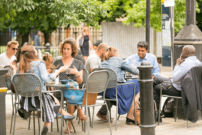 Food and drink, outside this summer in Vagabonds in Fulham