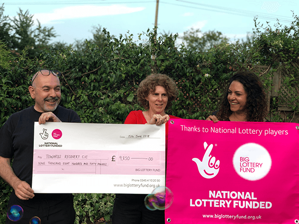 Towards Recovery receiving National Lottery funding: (l-r) Huseyin Djemil, Shelly Djemil and Jasmine Plowright